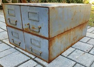 Vintage Industrial Metal File Cabinet 4 Drawer Record Files Inc Mid century