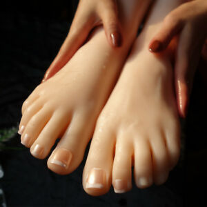 2pc Right Left Foot Lifelike Silicone Female Mannequin Foot Display Shoe Model