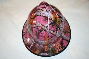 Custom Msa V gard full Brim Hard Hat W fas Trac Ratchet Pink Vista Camo