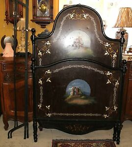 French Antique Floral Painted Black Cast Iron Twin Size Bed Frame Headboard