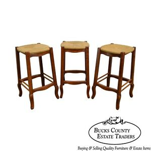 French Country Style Set Of 3 Rush Seat Bar Stools
