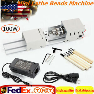 100w Mini Lathe Beads Polisher Machine Wood Woodworking Diy Rotary Set 110v