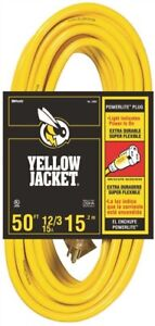 Coleman Cable 793904 Yellow Jacket 12 3 Sjtw 50 Ft Extension Cord