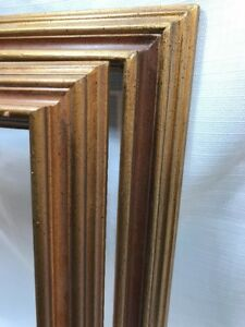 Vtg Wood Wall Frame Lot 2 Matching Picture Photo Painting Mid Century Modern