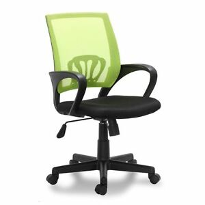 Black And Green Office Chair Swivel Seat Padded Height Adjustable Computer Chair