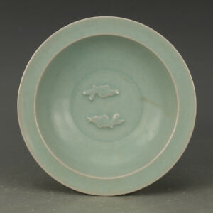 Chinese Ancient Antique Punch Ong Carving Pisces Porcelain Disc