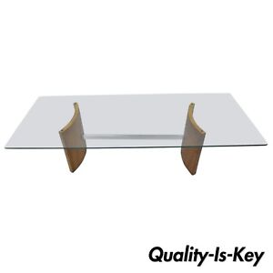 Vladimir Kagan Selig Danish Modern Propeller Coffee Table Walnut Chrome Glass