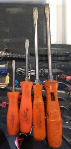 4pc Lot Of Snap On Tools Orange Handle Screwdriver Set Good Condition