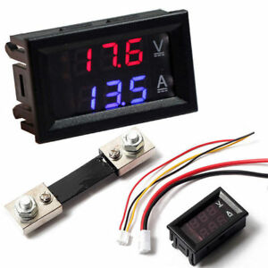 Dual Led Digital Voltmeter Ammeter Panel Tester 0 28 Dc 100v 10a Red Blue Shunt
