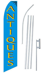 Antiques Flag Swooper Feather Sign Custom Banner 15ft Kit Made In Usa Blue