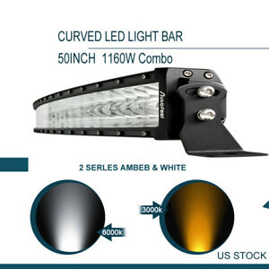 Curved 50 Inch 1160w Led Light Bar Combo Offroad Toyota Truck Jeep Fog Amber