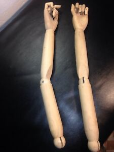 Vintage Tailored Mannequin Wood Articulated Arms And Hands Fingers Store Front