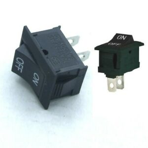 2x Spst On Off Black Square Rocker Switch Mini Small 12v Automotive Car Boat New