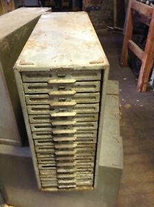 Remington Rand 15 Vintage Metal Card Filing Chest Of Drawers
