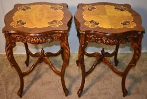 1930s Antique Carving French Floral Walnut Satinwood Inlaid End Side Lamptables