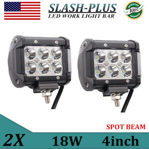 2x 4 Inch 18w Led Work Spot Light 4wd Offroad Suv Fog Driving Lamp 12v24v 1500lm