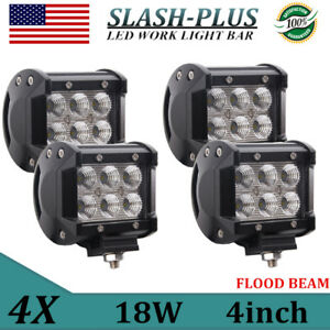 4x 18w Led Work Light Flood Backup Offroad Truck Motorcycle Cube Pods 4 Inch Atv