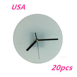 Us Stock 20pcs Sublimation Blank Glass Photo Frame With Glossy Round Clock New