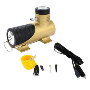12v Mini Air Compressor Auto Car Electric Tire Air Inflator Pump Tool Yellow
