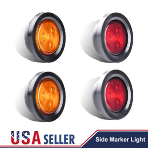 2 5 Round 4 Led Light Truck Trailer Side Marker Clearance Kit 5 Red