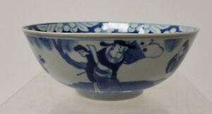 Antique Chinese Signed Underglaze Blue And White Bowl Reign Mark Scholars Lohan