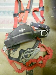 Used Protecta Pro Full body Safety Harness With Double Lanyard Medium Nice