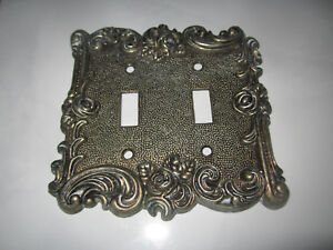 Vintage Ornate 2 Way Light Switch Cover Brass Tone Outlet Plate Decorate