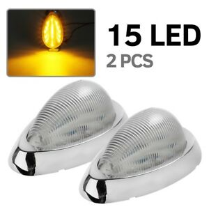 2x Clear Amber Side 15 Led Marker Signal Light For Freightliner Century Columbia