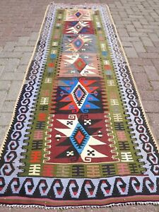 Vintage Turkish Kilim Runner Colorfull Runner Carpet 32 2 X96 8 Area Rug