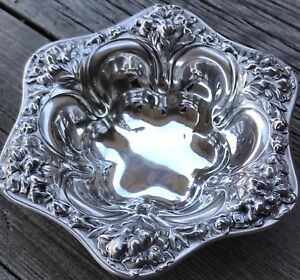 Victorian Antique Sterling Silver Meriden Britannia Lily Nut Dish 3 Available