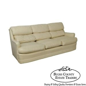 Hancock Moore Off White Leather Sofa