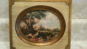 Picture Frame With Oval Shaped Ancient Picture 7 5 X 6 5 Inches Wooden Free Ship