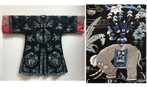 Antique Chinese Rare Elephant Embroidered Silk Robe Price Reduced