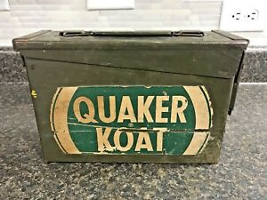 Vintage Military Metal Ammo Box (Empty) w QUAKER KOAT Decal