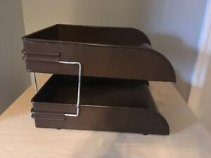 Vintage Globe Wernicke Metal Desk Organizer In Out Paper Letter Tray