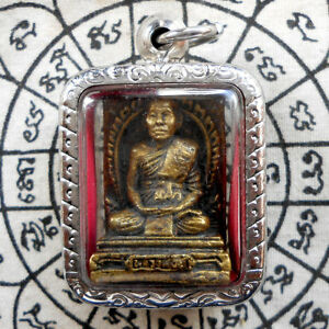Thai Amulet Pendant Buddha Phra Lp Yu Life Protect Wealth Powerful Talismans