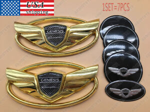 7pcs For Hyundai Genesis Coupe 2011 2015 Reticulate 3d Gold Wing Badge Emblem