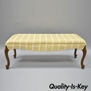 Vintage French Provincial Louis Xv Style Upholstered Long Bench Yellow Gold 43