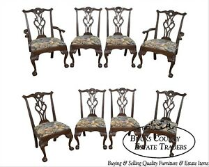 Henredon Rittenhouse Square 8 Set Mahogany Chippendale Ball Claw Dining Chairs