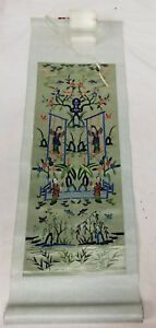 Antique Vintage Chinese Embroidered Robe Panel Landscape Scroll Silk Embroidery