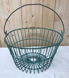 Vtg Green Wire Egg Gathering Basket Primitive Authentic Country Farm