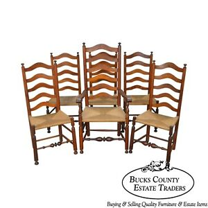 Antique Set Of 6 Cherry Rush Seat Ladder Back Dining Chairs