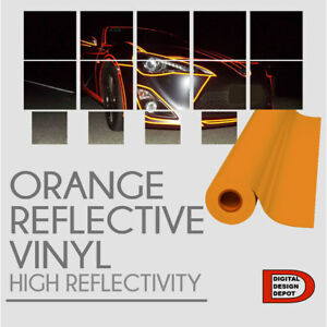 Orange Reflective Vinyl Adhesive Cutter Sign Hight Reflectivity 24 X 25 Feet
