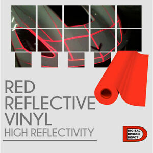 Red Reflective Vinyl Adhesive Cutter Sign Hight Reflectivity 24 X 25 Feet