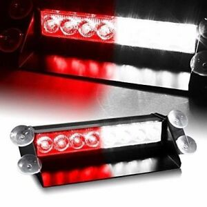 Car Dashboard Emergency Strobe Light Vehicle Lighting Fire Fighter 12v Red White