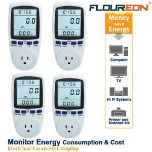 4x Lcd Power Meter Consumption Energy Monitor Amps Volt Kwh Electricity Analyzer
