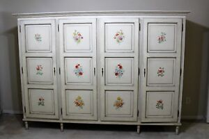 Italian 4 Door Large Bedroom Armoire Wardrobe Painted Antique White With Flowers