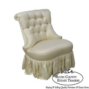 Karges Tufted White Satin Boudoir Chair