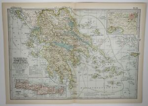 Antique Greece Map Xl Crete Samos Old Print Vintage Art 1897