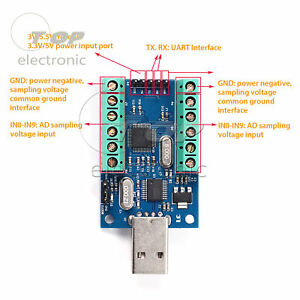 Usb 10 channel 12bit Ad Data Collection Module Stm32 Uart Adc Module